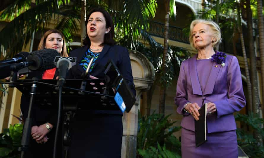 Queensland minister for women, Shannon Fentiman, premier Annastacia Palasczcuk and former governor general Dame Quentin Bryce
