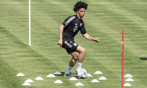 Leroy Sané training with Bayern Munich