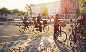 Cyclists on Israels Plads in Copenhagen, Denmark