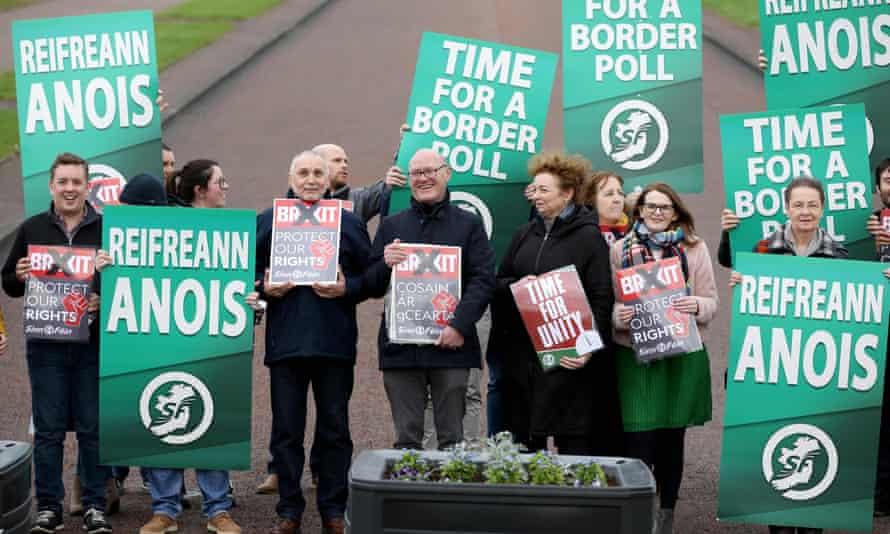 Sinn Féin activists calling for a border poll in January 2020.