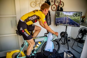 Dutch cyclist Mike Teunissen takes part in a virtual Tour of Flanders from his kitchen in Rosmalen,