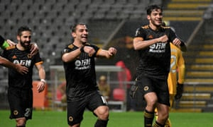 Raul Jimenez of Wolverhampton Wanderers celebrates after scoring their equaliser.
