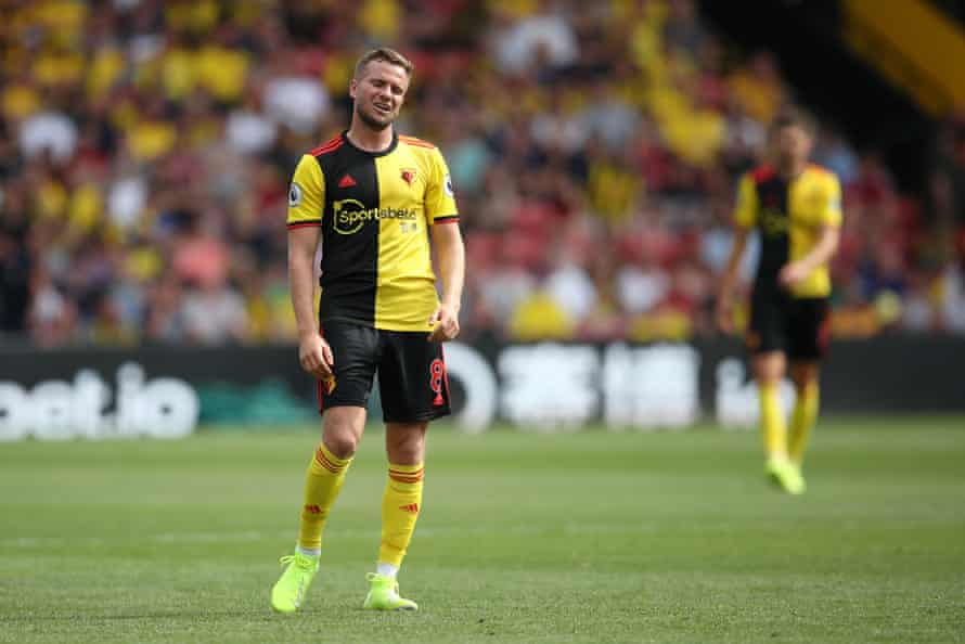 Tom Cleverley of Watford looks dejected during the game against West Ham