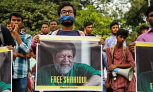 Protesters in Dhaka call for the release of Shahidul Alam