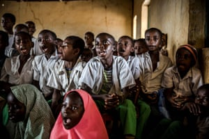 Students sing a song during the day's lessons at Wuro Fulbe Nomadic School in Kachia grazing reserve