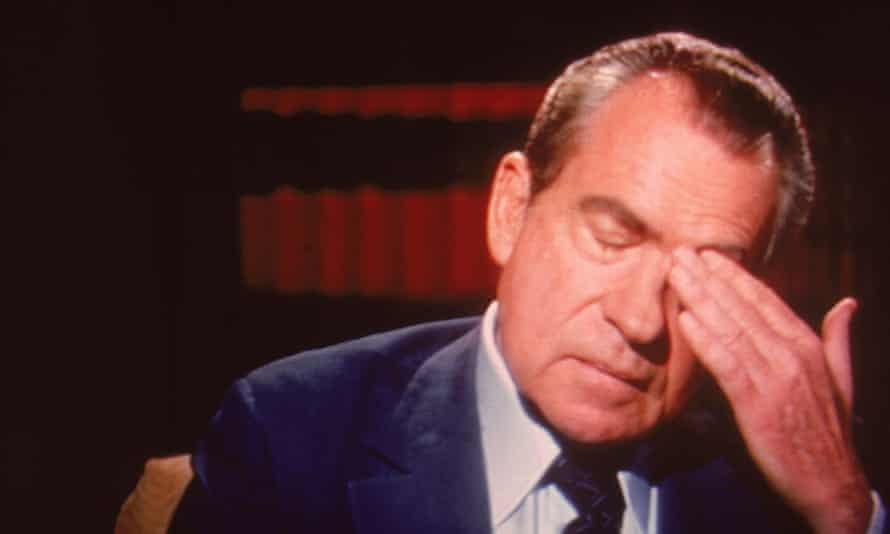 Richard Nixon reacts during an interview by David Frost, in 1977.
