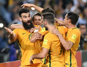 Australia's Mile Jedinak celebrates scoring a goal against Honduras as Australia qualified for the 2018 World Cup with a comfortable 3-0 win in the second leg. Jedinak bagged a hat-trick – two penalties and a deflected free-kick – as the Socceroos qualified for their fourth successive World Cup in what proved to be Ange Postecoglu's last game in charge.