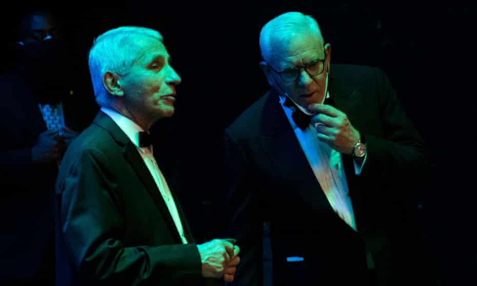 David Rubenstein speaks with Anthony Fauci, director of the National Institute of Allergy and Infectious Diseases, at the Kennedy Center in Washington in May.