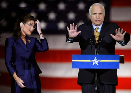 McCain speaks in Phoenix in 2008, with running mate Sarah Palin.