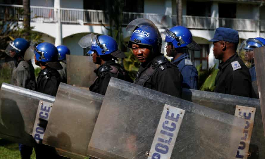 Zimbabwe anti-riot personnel at the Bronte hotel in Harare.