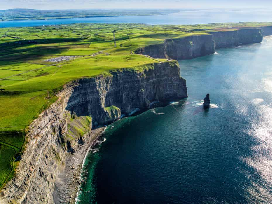 Aerial view of cliffs of Moher, County Clare, Ireland..