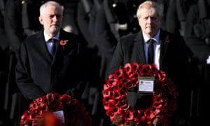 Boris Johnson and Jeremy Corbyn at the Cenotaph