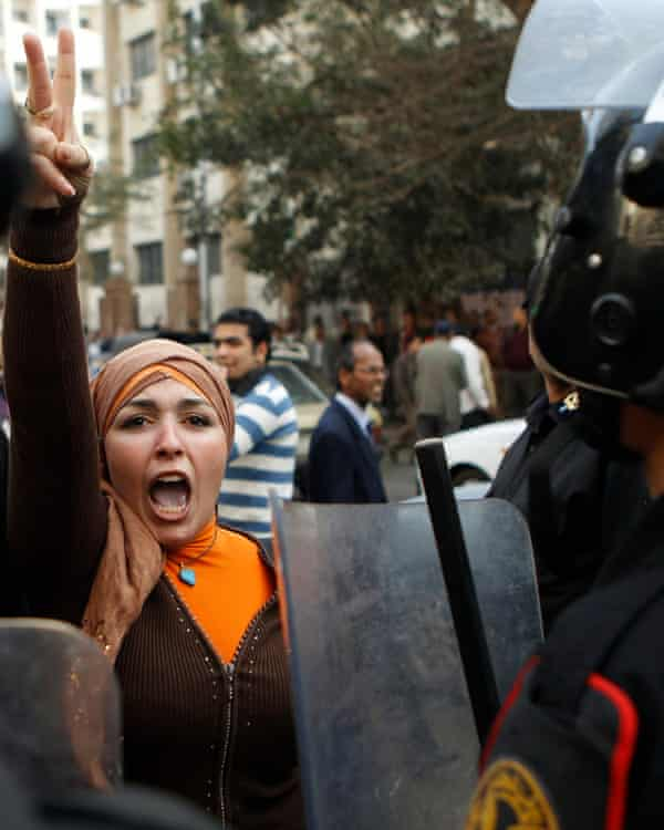 An anti-government protester in Cairo.