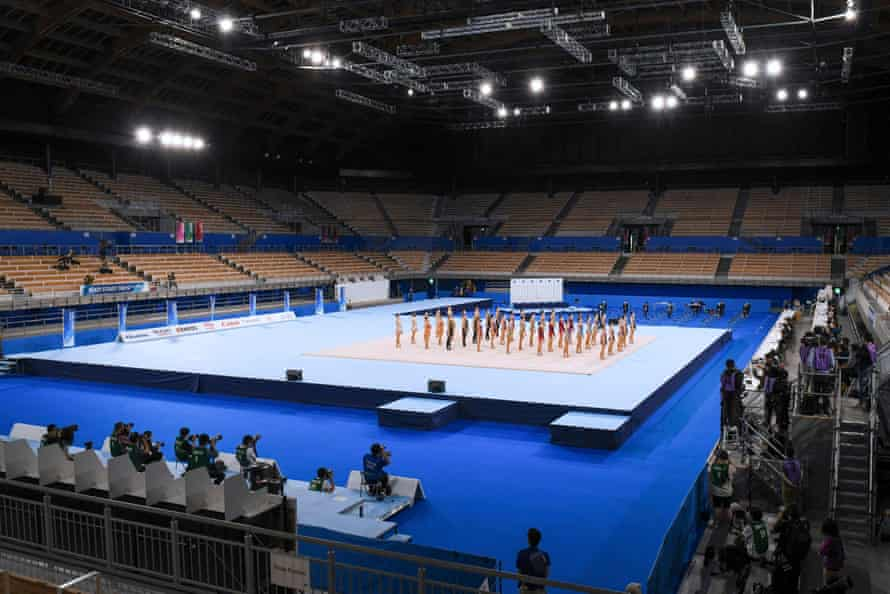 Athletes prepare to perform at a rhythmic gymnastics test event of the Tokyo 2020 Olympic Games at the Ariake Gymnastics Centre in Tokyo.