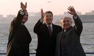 George Bush, Ronald Reagan and Mikhail Gorbachev.