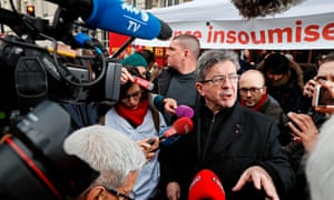 Jean-Luc Melenchon addresses the media at a nationwide demonstration of Health workers and civil servants