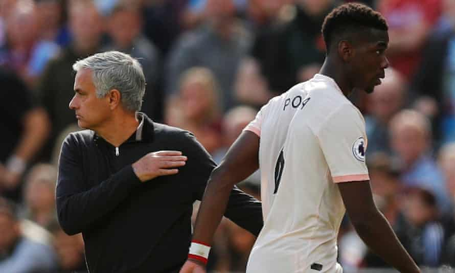 Paul Pogba is substituted by José Mourinho during Manchester United's dismal defeat at West Ham.