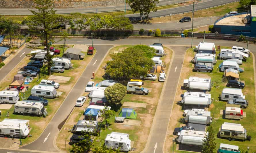 A campervan and RV park in Australia.