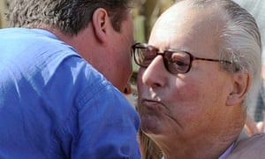 David Cameron embraces his father Ian in April  2010