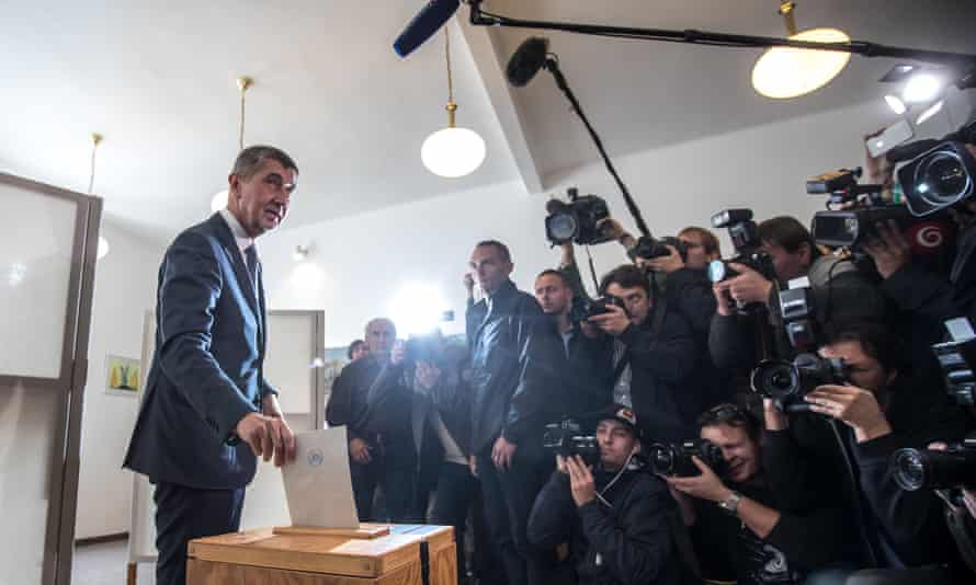 Andrej Babiš casts his ballot in Prague on Friday.