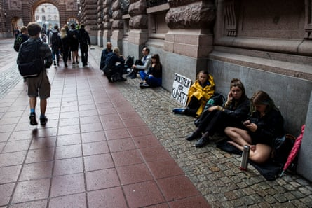 Greta Thunberg and friends outside the Swedish parliament