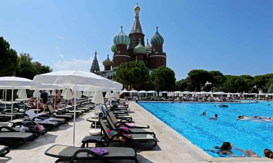 Holidaymakers at the Kremlin Palace Hotel in the Mediterranean resort of Antalya, Turkey
