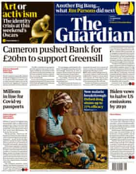 Guardian front page, Friday 23 April 2021
