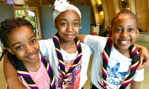 Cub scouts Angel Moisa-Mputu, nine, Fiona Agbudou, 10 and Cindy Agbudou nine, of the Willesden group in north London.