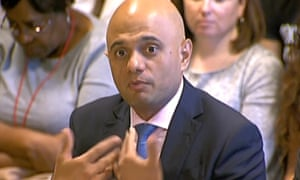 Sajid Javid giving evidence to the joint human rights select committee