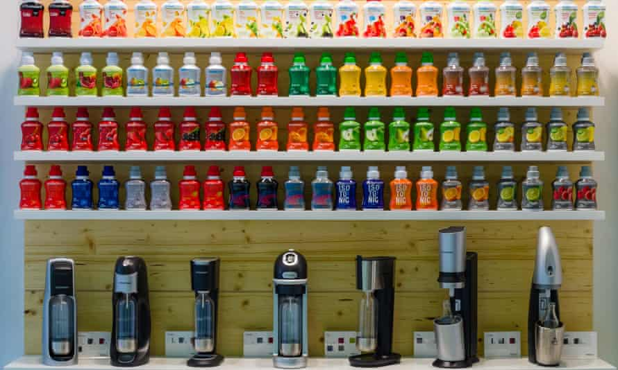 A wall full of colourful Sodastream products