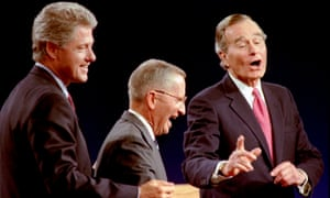 Ross Perot, centre, with Bill Clinton, left, and George Bush Sr at the end of their presidential debate in Michigan in 1992.