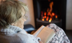 An older woman reading.