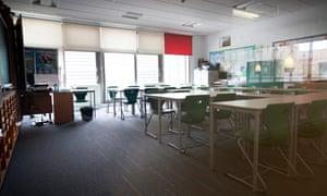 An empty classroom in Edinburgh, Scotland.
