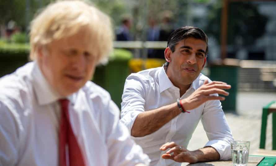 Boris Johnson and Rishi Sunak in West India Quay, London, on 26 June.