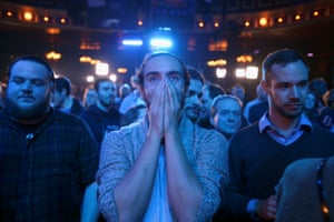 Montreal, Canada: Supporters react to results shown at the election night party of the Bloc Québécois leader, Yves-François Blanchet.