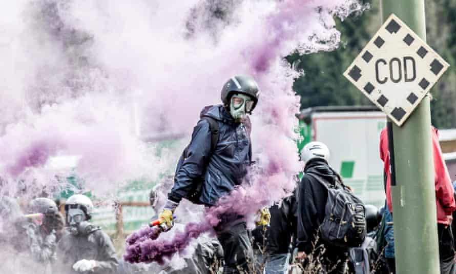 Activists protest at the Brenner Pass between Italy and Austria