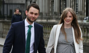 Daniel and Amy McArthur, the owners of Ashers bakery, arrive for the supreme court hearing in Belfast.