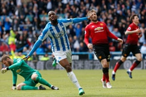 Isaac Mbenza beats David de Gea one-on-one to ensure Huddersfield escaped the unwanted statistic of finishing with the lowest ever number of goals scored at home in a Premier League season.