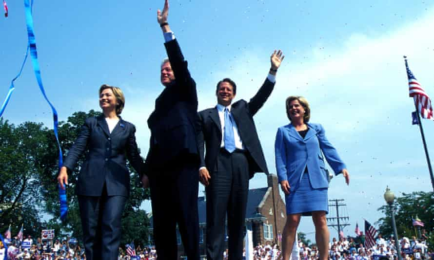 The Clintons campaigning with Al and Tipper Gore, in Michigan, 2000.