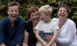 Patrick Cairnduff with his mother, Annette Cairnduff, younger brother and mother's wife, Kylie Gwynne.