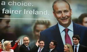 The Fianna Fáil leader, Micheál Martin, and candidates launch their billboard.