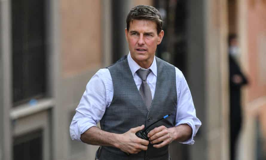 Tom Cruise during the filming of Mission Impossible: 7 in Rome in 2020