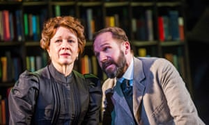 Linda Emond (Aline Solness) and Ralph Fiennes (Halvard Solness) in The Master Builder by Henrik Ibsen at Old Vic. Directed by Matthew Warchus