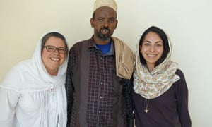 Farhan Warfaa with his attorneys. Warfaa is bring a case against Yusuf Abdi Ali who committed various crimes in Somaliland in the 1980s and currently resides in the US.