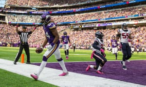 Minnesota Vikings wide receiver Cordarrelle Patterson celebrates his touchdown during the fourth quarter against the Texans.