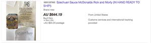 Szechuan sauce packet for sale on Ebay