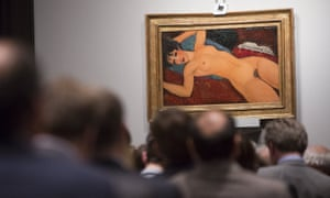 Auction of Amedeo Modigliani's Nu Couché  at Christie's  in Manhattan