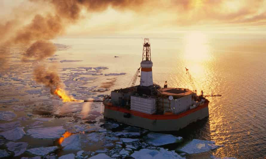 An oil rig in the Beaufort sea, in the Arctic.