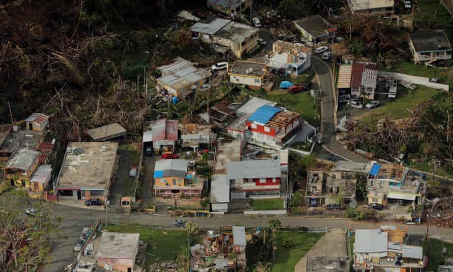 Buildings damaged by Hurricane Maria in Lares, Puerto Rico, in 2017. The hurricane killed thousands of people.