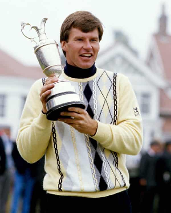 Golfer Nick Faldo in argyle, 1987.